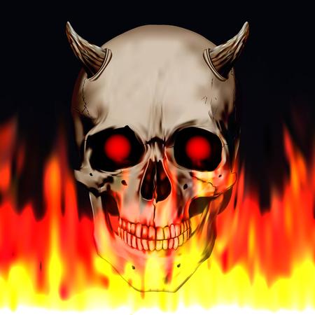 Human realistic skull with burning eyes and horns. Devil, evil, satan. Fire background, anatomy vector illustration. Stock Illustratie