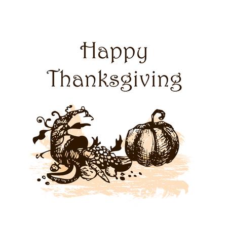 Happy thanksgiving. Hand drawn sketch doodle vector illustration.