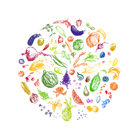 Fruits, berries and vegetables. Hand drawn sketch doodle vector illustration. Vetores