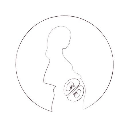 Expecting pregnant mother, twins. Black outline, white background. Design element for pregnancy theme. Vector illustration.