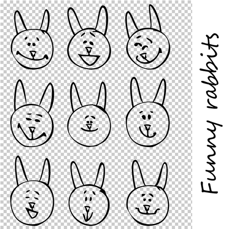 Funny rabbits. Doodle animal faces with positive emotions, black outlines, transparent background. Emoticons. Emotional icons. Vector illustration.
