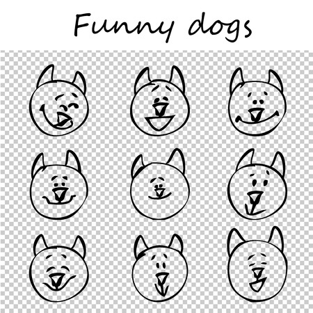 Funny dogs, puppies. Doodle animal faces with positive emotions, black outlines, transparent background. Emoticons. Emotional icons. Vector illustration.