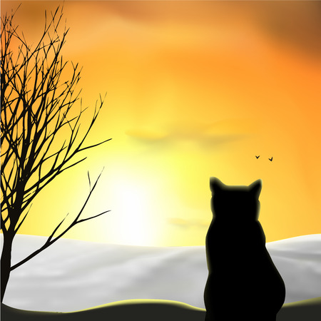 A cat looking at snow field, sunset, sunrise, tree, birds. Orange sky, silhouettes. Vector illustration.