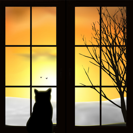 A cat looking out a window. Snow field, sunset, sunrise, tree, birds. Orange sky, silhouettes. Vector illustration.