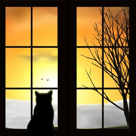 Un chat regarde par la fenêtre. Champ de neige, coucher de soleil, lever de soleil, arbre, oiseaux. Ciel orange, silhouettes. Illustration vectorielle. Vecteurs
