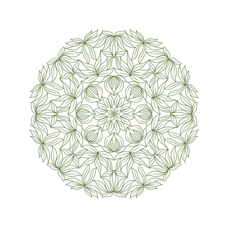 Mandala, plant pattern. Green outlines, coloring template for children, kids. Abstract vector illustration.
