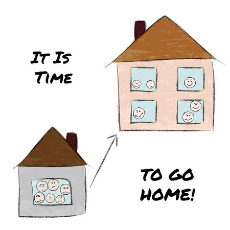 Es ist Zeit nach Hause zu gehen. Kleines Haus, traurige Leute, großes Haus, glückliche Leute. Kindisches Bild, handgezeichnetes Vektorbild.