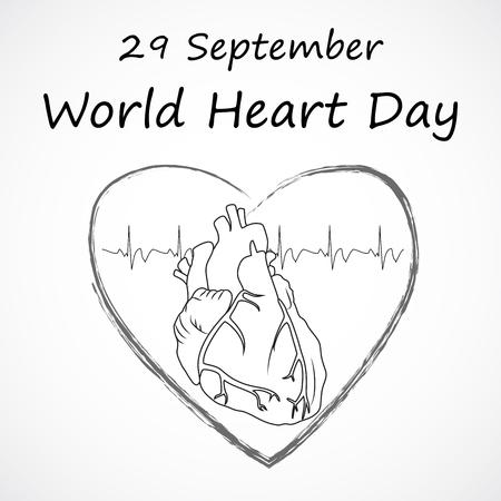 Heart health poster, banner, design template. 29 september, world heart day. Anatomy heart image, heartbeat. Medical flat outline vector illustration.