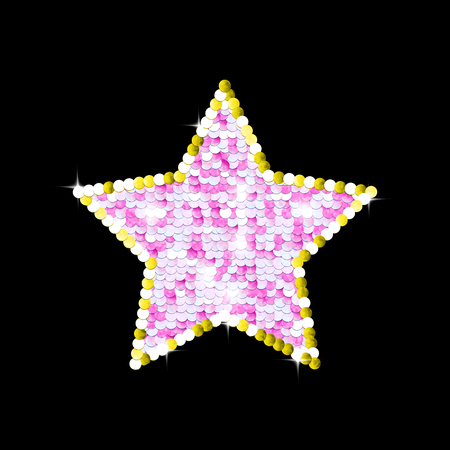 Sequins sparkling background. Pink star, gold outline. Vector illustration.