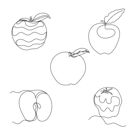 Set of five one line apples. Hand drawn black and white vector illustration. Outlined fruits.