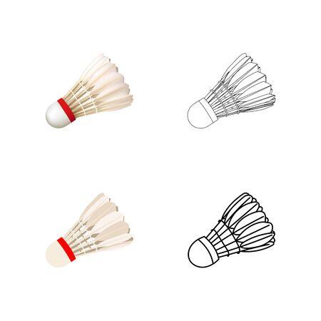 Set of shuttlecocks. Realistic, flat, outline, line art. Vector illustration.