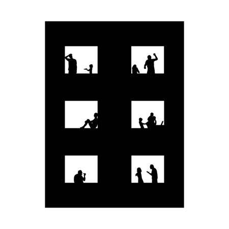 Quarantine, self isolation problems. Domestic violence, loneliness, obesity, poverty, quarrel. Child, man, woman silhoettes in window. Vector social illustration. Ilustrace