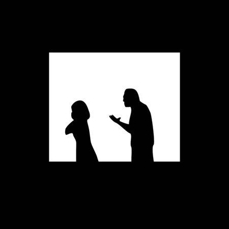 Quarantine, self isolation problems. Quarrel, relationship. Man, woman silhoettes in window. Vector social illustration. Ilustrace