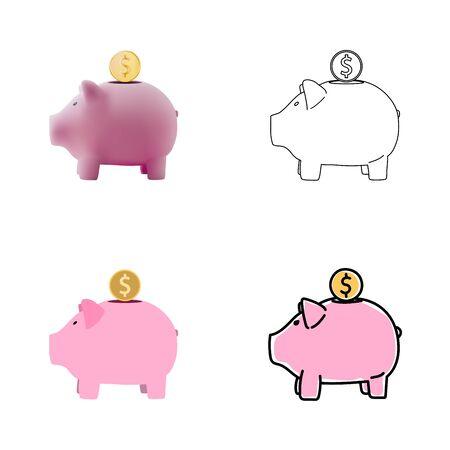 Set of piggy bank images in realistic, line art, outline, flat style. Deposite, money, coin. Vector illustration. Ilustrace