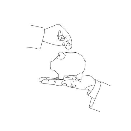 Piggy bank image in line art, outline. Deposite, money, hand putting coin. Vector illustration.