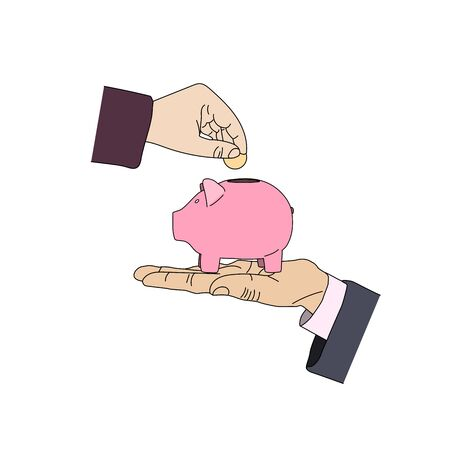 Piggy bank image in flat style. Deposite, money, coin, hands. Vector illustration. Ilustrace