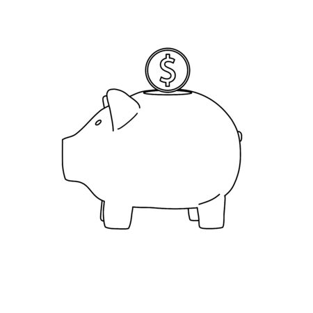 Piggy bank image in line art, outline style. Deposite, money, coin. Vector illustration.