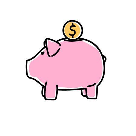 Piggy bank image in outline, flat style. Deposite, money, coin. Vector illustration.