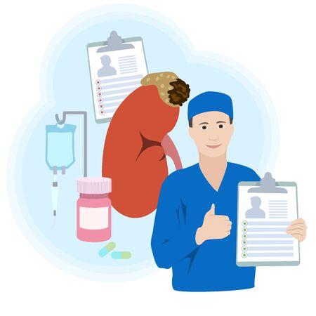 Adrenal gland tumor. Disease. Treatment, pills, bottle, drop counter, dropper. Smiling doctor with diagnosis, patiant card. Thumb up. Recovery. Medical flat anatomy illustration.