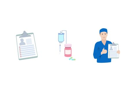 Treatment, pills, bottle, drop counter, dropper. Smiling doctor with diagnosis, patiant card. Thumb up. Medical flat anatomy illustration.