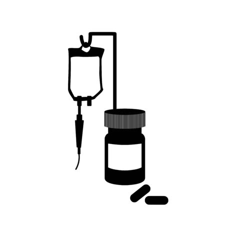 Treatment, pills, bottle, drop counter, dropper. Medical black and white anatomy illustration. Ilustrace