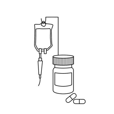 Treatment, pills, bottle, drop counter, dropper. Medical line art outline anatomy illustration. Ilustrace