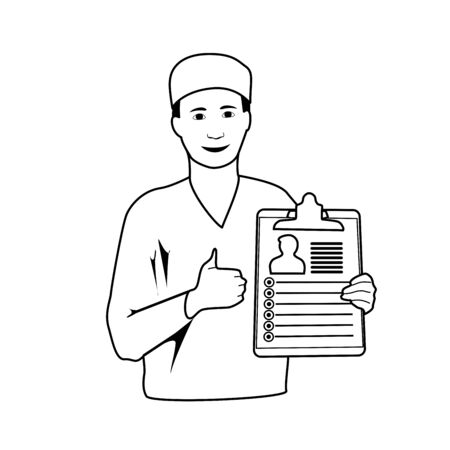 Smiling doctor with diagnosis, patiant card. Thumb up. Medical line art outline anatomy illustration.