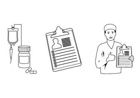 Treatment, pills, bottle, drop counter, dropper. Smiling doctor with diagnosis, patiant card. Thumb up. Medical line art outline anatomy illustration. Ilustrace