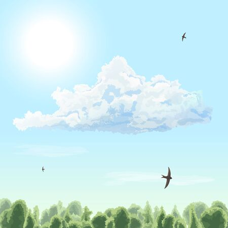 Summer time. Sunny day. Sun, cloud, bird, swift, sky, forest. Vector illustration.