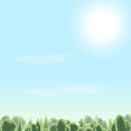 Summer time. Sunny day. Sun, cloud, sky, forest. Vector illustration.