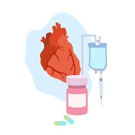 Human heart. Disease. Treatment, pills, bottle, drop counter, dropper. Medical flat anatomy illustration.