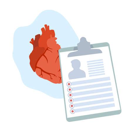 Human heart. Disease. Diagnosis, patiant card. Medical flat anatomy illustration.