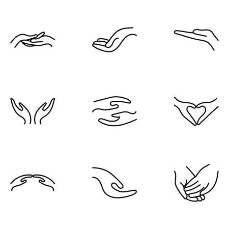 Hands care, saving, protect set. 9 icons bundle. Vector medical illustration.