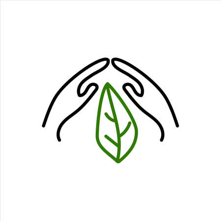 Green leaf, plant in hands isolated icon. Saving nature. Vector illustration