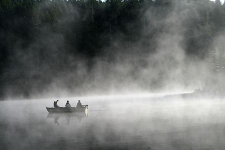 fishing lake: Fishing in the Fog