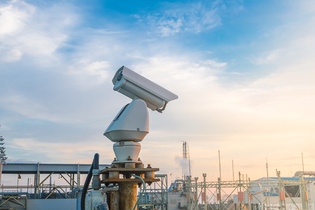 lens unit: Security CCTV camera system in factory Stock Photo