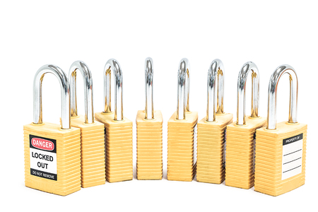 tool unlock: Yellow locks isolated on white background