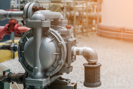 Diaphragm pump in petrochemical plant, Diaphragm pump in oil refinery industrial, Machine for loading chemical