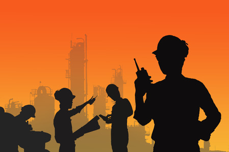 Silhouette of workers in petrochemical industrial estate, technicians monitor manufacturing plant, Jobs of engineer