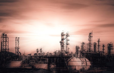 Manufacturing of petrochemical industry, Background of industrial concept, Petroleum fossils factories with distillation tower, Oil and gas refining industry with monotone color Foto de archivo