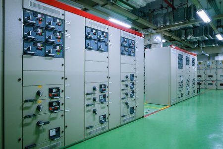 Electrical substation room in petrochemical industry or Oil and gas refinery and power plants Stock Photo