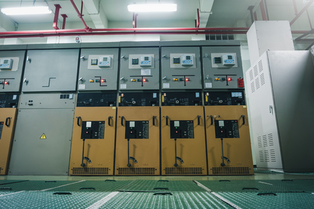 Breaker cabinet in electrical substation room for power plant