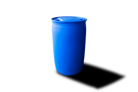 Plastic drum with blue color isolated on white background, Clipping path of chemical drum