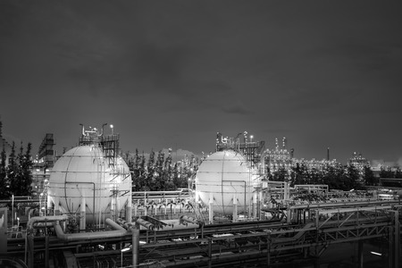 Gas storage sphere tanks in oil and gas refinery industrial plant with monotone effect