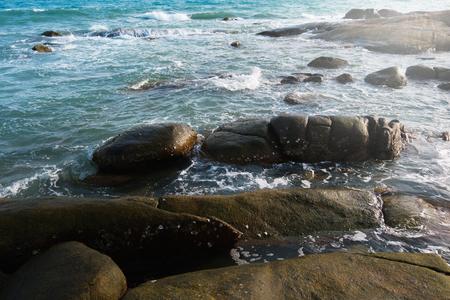 Seascape and sea wave with rocks
