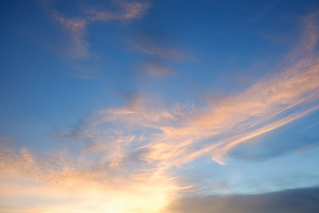 Blue sky sunset with orange cloud Stockfoto