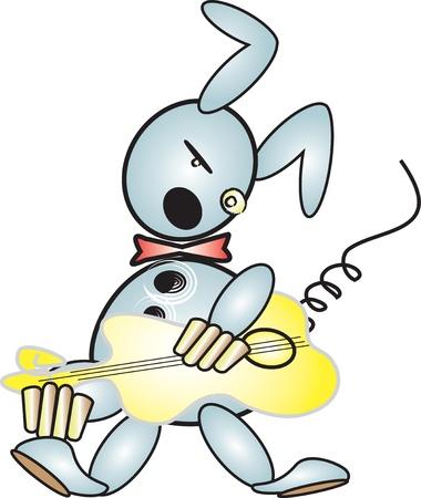 KONIJN spelen van de gitaar Stock Illustratie