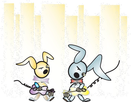 RABBITS PLAYING THE GUITAR