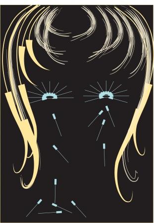 Vrouwelijke kapsels gestileerde ogen Stock Illustratie
