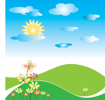 campo verde con flores, el sol y las nubes Vectores